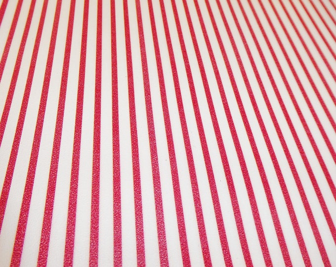 """Leather 5""""x11"""" CANDY Cane Red PTR stripes on White Cowhide 2.5oz/1mm #100 PeggySueAlso™ E3097-04"""