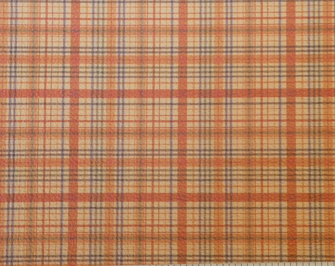 """Leather 8""""x10"""" Tartan Plaid Print ORANGE and YELLOW and Navy Stripe Cowhide 3-3.5 oz / 1.2-1.4 mm PeggySueAlso™ E2178-03 Hides available"""