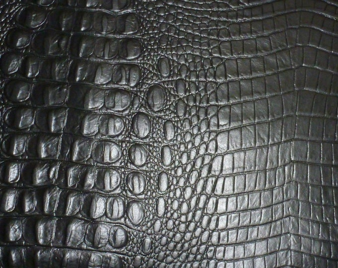 """Leather 12""""x12"""" Alligator BLACK Croc Embossed Cowhide 2.5-3oz/ 1-1.2 mm PeggySueAlso™  E2860-21  hides available"""
