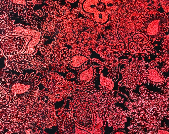 """Metallic Leather 8""""x10"""" Paisley Love Rose RED / Black Soft Suede Cowhide 3-3.25 oz /1.2-1.3 mm PeggySueAlso™ E3110-08"""