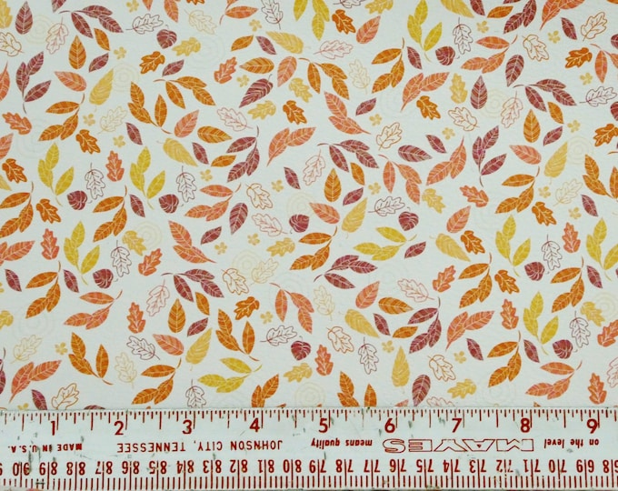 Leather 3-4-5 or 6 sq ft AUTUMN FALLING LEAVES on White Cowhide 2.75-3 oz/1.1-1.2 mm PeggySueAlso™ E4600-01