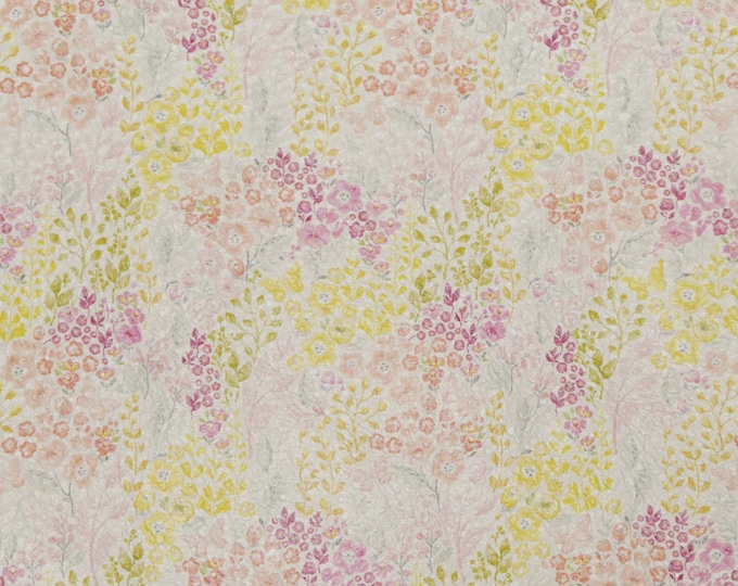 "Leather 12""x12"" PASTEL FLOWERS Yellow, Pink, Mauve Cowhide 3.25-3.5oz/1.3-1.5mm PeggySueAlso™ E2181-01"