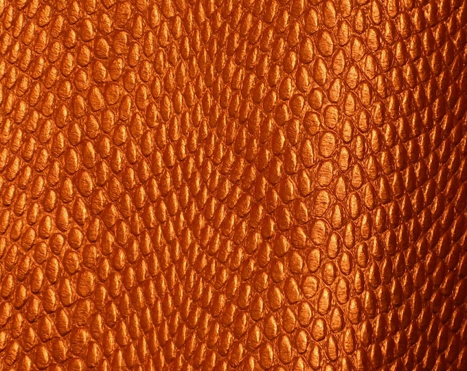 "Metallic Leather 8""x10"" Amazon Cobra LOBSTER ORANGE Metallic Cowhide 2.5-2.75 oz / 1-1.1 mm PeggySueAlso™ E2846-22 Hides available"