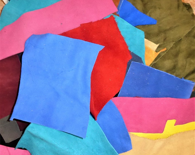 Scrap Suede Leather Craft Sizes Cowhide packed in a U.S.P.S. Priority A Flat Rate Box PeggySueAlso™