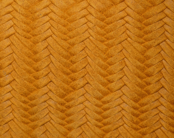 "Slight Color change Leather 12""x12"" Braided Fishtail MUSTARD slightly Marbled Soft Cowhide 3-3.5oz/1.2-1.4mm PeggySueAlso™ E3160-28"