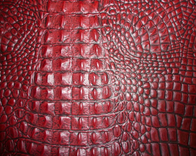 "Leather 8""x10"" Alligator Dark Red CRANBERRY / Burgundy with Dark Highlights Cowhide 2.5-3 oz/1-1.2 mm PeggySueAlso™ E2860-18 hides available"
