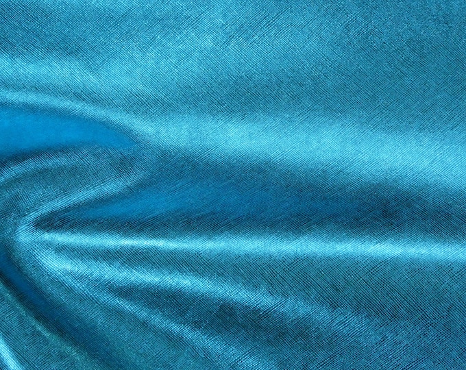 """Metallic Leather 12""""x12"""" Saffiano TURQUOISE METALLIC Weave Embossed Cowhide 2.75-3oz/1.1-1.2mm PeggySueAlso™ E8201-25 Hides available"""