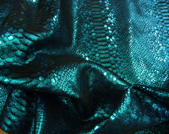 "Metallic Leather 8""x10"" Mystic Python TURQUOISE on BLACK Cowhide 3 oz / 1.2 mm PeggySueAlso™ E2868-07 Hides Available"