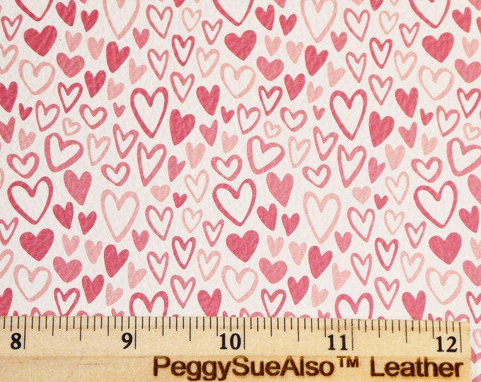 """Leather 8""""x10"""" Pink and Red SKETCHED HEARTS on White Soft Cowhide 3-3.25oz/1.2-1.3mm PeggySueAlso E1380-17  Valentine"""