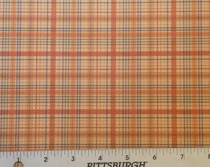 "Leather 12""x12"" Tartan Plaid Print ORANGE and YELLOW and Navy Stripe Cowhide 3-3.5 oz / 1.2-1.4 mm PeggySueAlso™ E2178-03 Hides available"