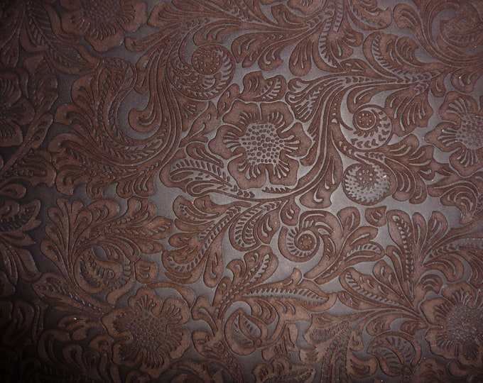 "Suede Leather 12""x12"" Etched DAISY Rich Chocolate Brown Floral Matte Cowhide 3.5-3.75 oz/1.4-1.5 mm PeggySueAlso™ E2875-02 hides available"