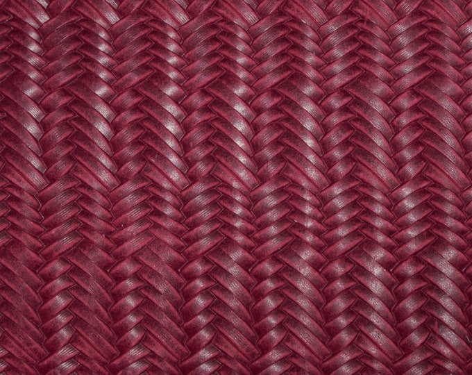 """Leather 12""""x12"""" Braided ITALIAN Fishtail RASPBERRY Cowhide 2.5-3 oz / 1-1.2 mm PeggySueAlso™ E3160-08 Hides Available"""