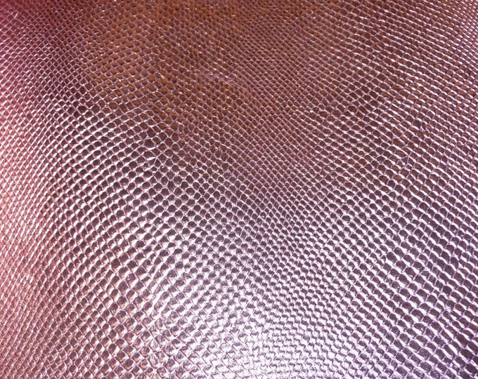 """Metallic Leather 8""""x10"""" Amazon Cobra ROSEY PINK Snake Embossed Cowhide  2.5 oz / 1mm PeggySueAlso™ E2846-09 hides available"""