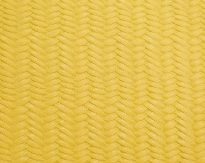 """Leather CLOSEOUT 8""""x10""""  or  12""""x12"""" Braided Fishtail VIVID YELLOW Cowhide 2.5-3 oz / 1-1.2 mm PeggySueAlso™ E3160-69"""