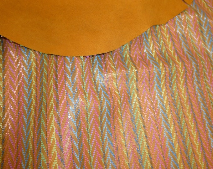 """Leather 5""""x11"""" Rainbow Chevron GOLDEN Cowhide 2.5-3 oz / 1-1.2 mm #100 PeggySueAlso™ E1601-08 Hides available"""