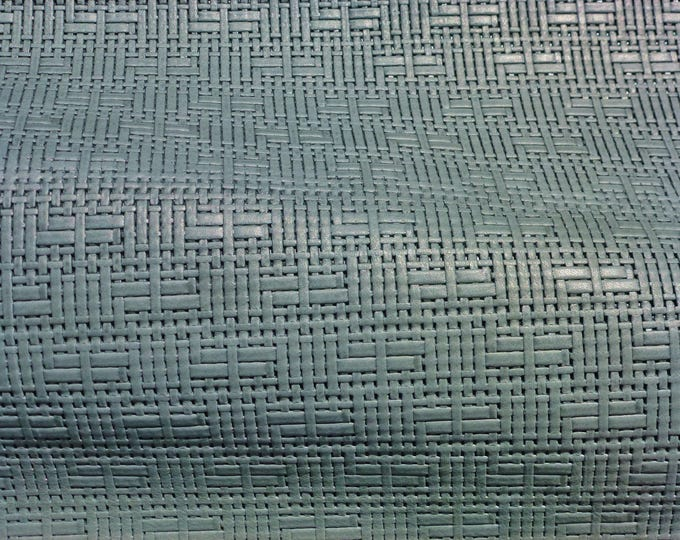 "Leather 5""x11"" Panama SAGE Basket Weave Embossed Cowhide 2-2.5 oz/0.8-1 mm PeggySueAlso™ E8000-04 Full hides available"