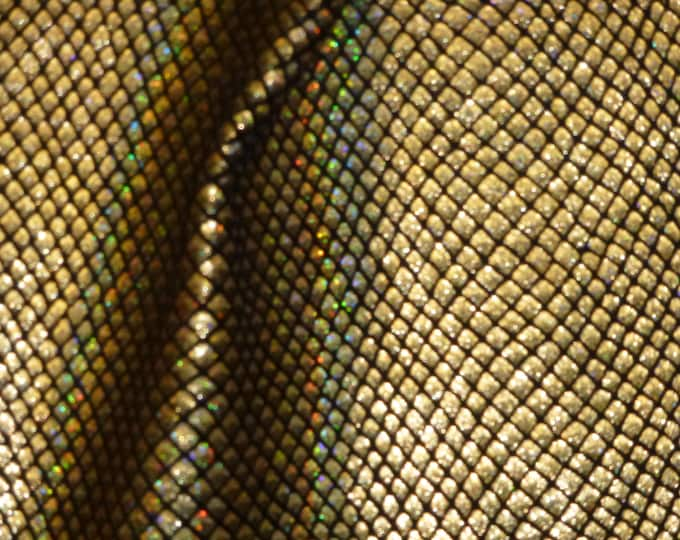 "Metallic Leather 8""x10"" Fish Scales GOLD HALO on Black Cowhide 2.5-3oz / 1-1.2mm PeggySueAlso™ E3400-02 Full hides available"