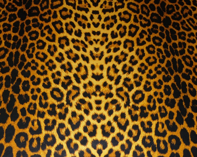 """Leather 12""""x12"""" Cheetah / Leopard OCHRE large size print on Golden Cowhide NOT Hair-On 2-2.5oz/.8-1mm PeggySueAlso™ E1650-04 hides available"""