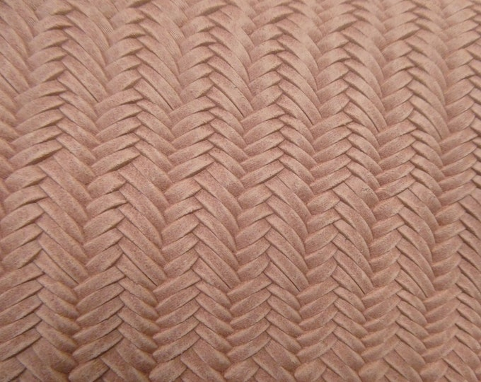 """Leather 5""""x11"""" Braided ITALIAN Fishtail CAMEO PINK Cowhide 3-3.5 oz / 1.2-1.4 mm PeggySueAlso™ E3160-01"""