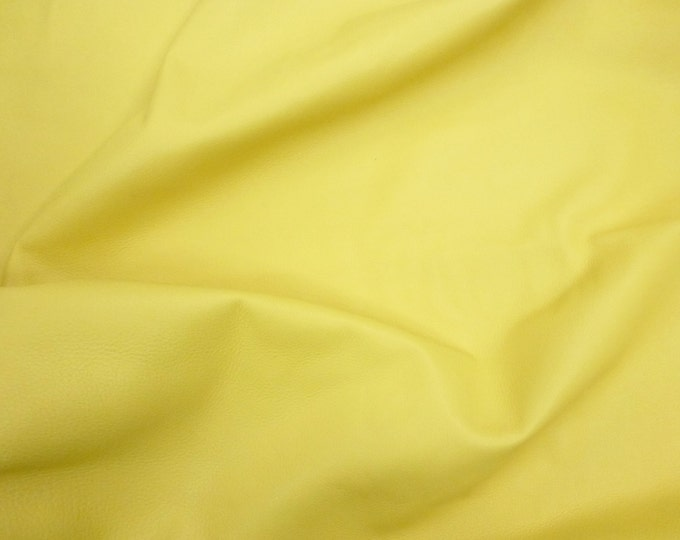 """Leather 12""""x12"""" King BUTTERCUP YELLOW full grain Cowhide 3-3.5 oz /1.2-1.4 mm PeggySueAlso™ E2881-20 Hides Available"""