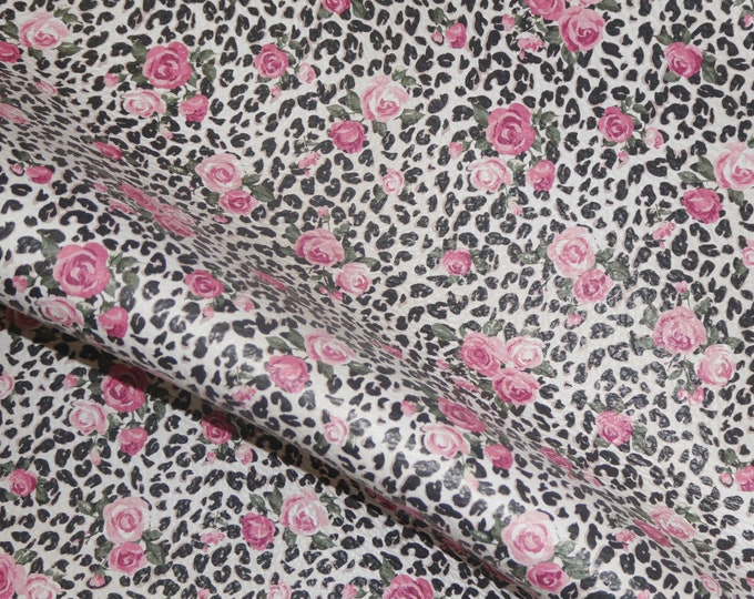 "RESTOCKED 8""x10"" ROSES over Black LEOPARD Spots on White on genuine Cowhide Leather 3.25-3.5oz/1.3-1.5mm PeggySueAlso E1114-01"
