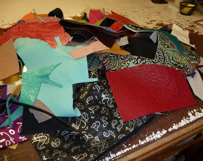 Leather 3 to 4 pounds FANCY with SOLID Craft Sizes Scrap Colors Pieces PeggySueAlso PRIORITY A