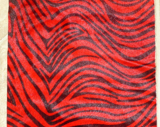 "Hair On Leather 12""x12"" Thin Mini RED TIGER with Black Stripe Cowhide Very Soft HOH 3.25-3.5 oz / 1.3-1.4 mm PeggySueAlso Limited"