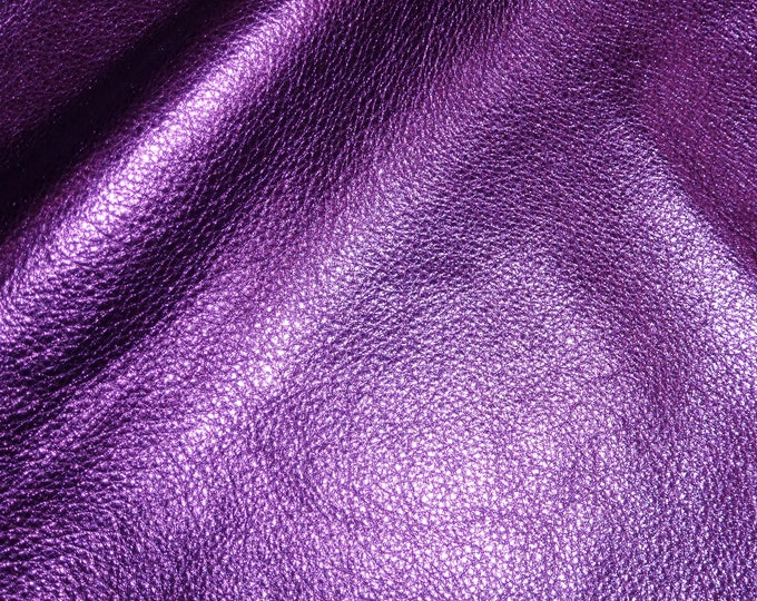 3 or 4 or 5 or 6 sq ft PURPLE Pebbled Metallic shows the grain cowhide Leather 2.5-3oz/1-1.2 mm PeggySueAlso™ E4100-17 Full hides available
