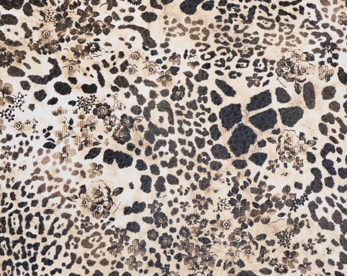 Leather 3-4-5 or 6 sq ft Tan with Dark Brown Spots LEOPARD CONCEALED in FLOWERS grain Cowhide 3-3.5 oz/1.2-1.4 mm PeggySueAlso™ E2550-26