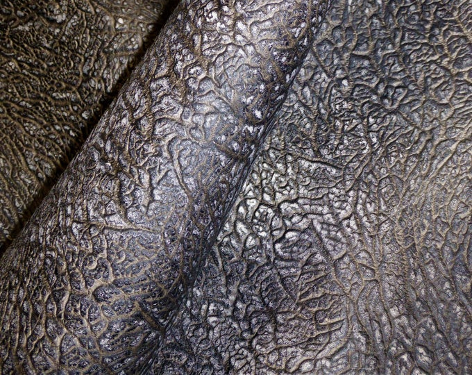 """Leather 12""""x12"""" SAFARI Elephant Antique GRAY Deep Grained Fairly Thick Embossed Cowhide 4-4.5 oz/ 1.6-1.8 mm PeggySueAlso™ E2887-02"""