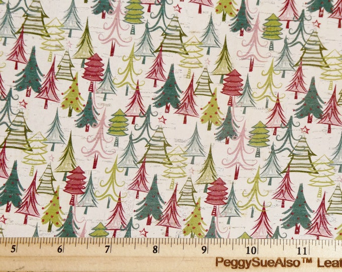 """CoRK Version 5""""x11"""" HoLIDAY QUIRKY TREES (larger trees than Leather version) cork applied to Leather Thick 5.5oz/2.2mm #284 E5610-214"""