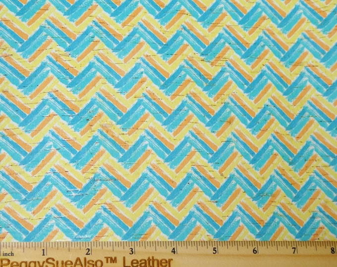 """NeW 8""""x10"""" TEAL and YELLOW CHEVRON applied to CoRK on Cowhide Leather 4 body/strength Thick 5oz/2mm PeggySueAlso™ E5610-68 hides too"""