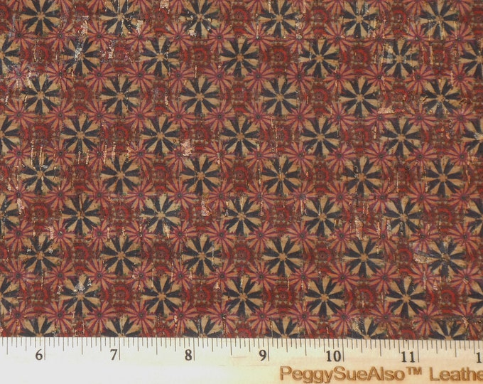 "Cork 12""x12"" PINWHEEL BURGUNDY & Red applied to NATURAL CoRK on Leather 4 body/strength Thick 5oz/2mm PeggySueAlso™ E5610-79 trial"