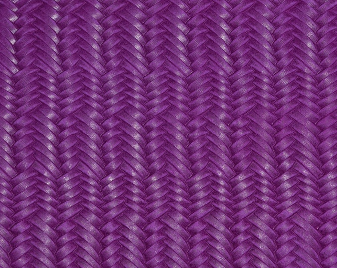 "Leather 8""x10"" Braided ITALIAN Fishtail DARK MAGENTA Cowhide 3-3.5 oz / 1.2-1.4 mm PeggySueAlso™ E3160-10 Hides available"