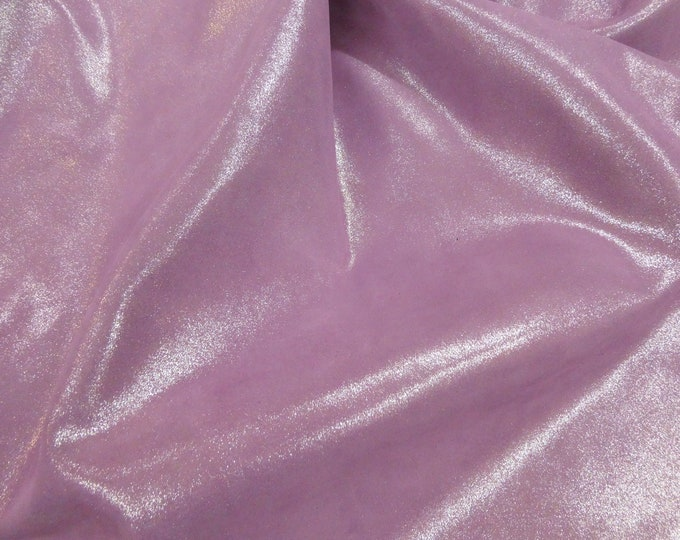 "NEW Dye Lot Metallic Leather 12""x12"" Dazzle Silver on LILAC BLOOMS on Suede Cowhide 3-3.25 oz / 1.2-1.3 mm PeggySueAlso™ E8300-17 hides too"