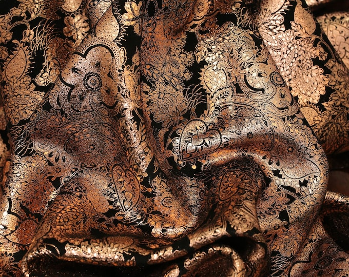 Metallic Leather 3-4-5 or 6 sqft Paisley Love combo ROSE GOLD on BLACK Soft Cowhide 3-3.25 oz/1.2-1.3mm PeggySueAlso™ E3110-03 hides too