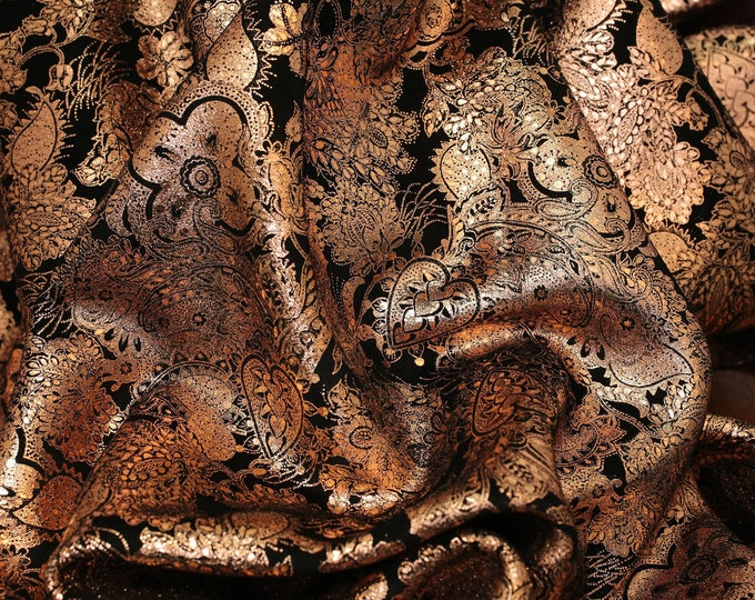 "Metallic Leather 12""x20"", 10""x24"" + Paisley Love combo ROSE GOLD on BLACK Soft Cowhide 3-3.25oz /1.2-1.3mm PeggySueAlso™ E3110-03 hides too"