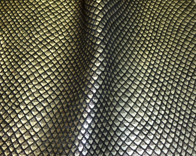 "Metallic  Leather 12""x20"", 15""x15"", 14""x17""  OR 10""x24"" Fish Scales PLATINUM on Black Cowhide 2.5-3oz / 1-1.2mm PeggySueAlso™ E3400-08 hides"
