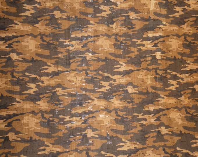"""New CORK 8""""x10"""" Dark GRAY Tan and natural cork CAMO on cork applied to Leather for body/strength Thick 5oz/2mm E5610-118"""