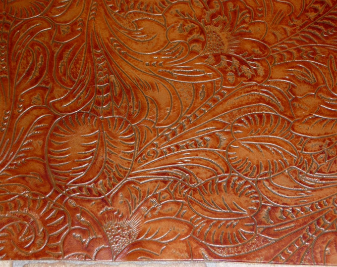 """Leather 8""""x10"""" Western Tool Floral Leaf NUTMEG Reddish Brown Cowhide 3.5 oz/ 1.4 mm PeggySueAlso™ E2838-11 Full Hides Available"""