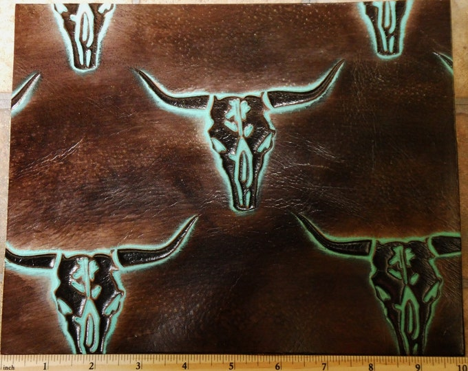 """Leather 8""""x10"""" Texas LONGHORN Cattle Skulls Seal BROWN / Turquoise  Cowhide 2.5-3 oz /1-1.2 mm PeggySueAlso™ E2400-05 Hides Available"""
