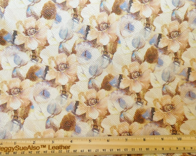 """Leather 8""""x10"""" TEXTURED MAGNIFICENT Garden Flowers on off WHITE Cowhide 2.5-2.75 oz/1-1.1 mm PeggySueAlso™ E3155-01 Hides Available"""