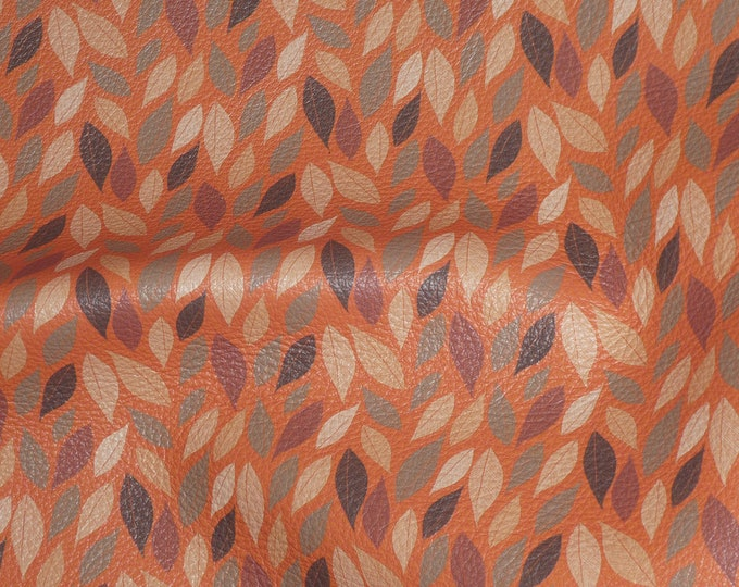 "Leather 8""x10"" AUTUMN MAGNOLIA Leaves on ORANGE Cowhide 2.75-3 oz/1.1-1.2 mm PeggySueAlso™ E4600-07 hides available"