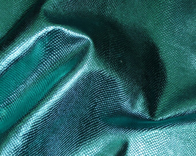 """Metallic Leather CLOSEOUT 8""""x10"""" Amazon Cobra TURQUOISE Snake Embossed Cowhide  2 oz / .8 mm  #457 PeggySueAlso™ E2846-10"""