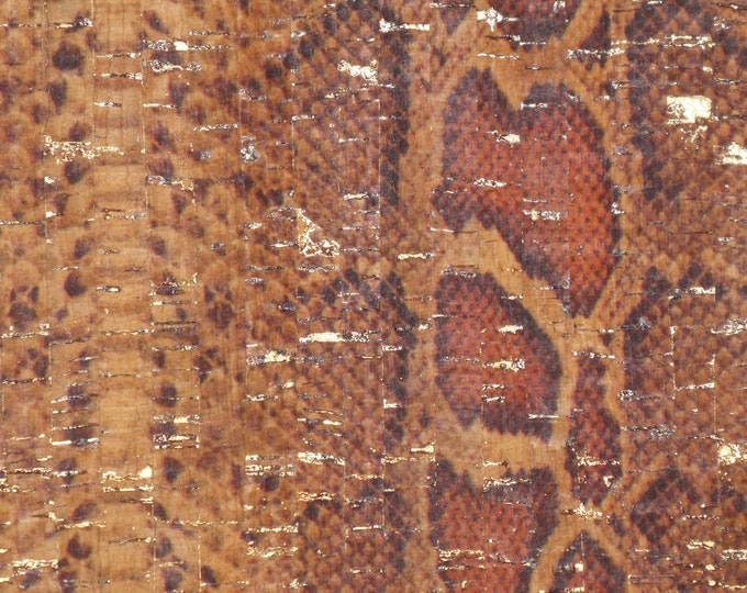 Cork CLOSE0UT various sizes BROWN and ORANGE PYTHON with Gold flecks applied to real leather Thick 5oz/2mm #535, #100, #554, #415  E5610-20