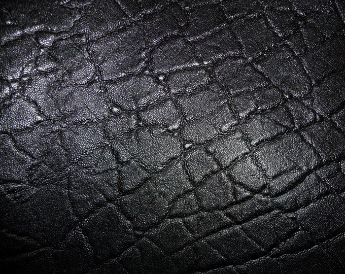 "Leather 20""x20"" Elephant Shiny JET BLACK Embossed Cowhide 2.5-3oz/1-1.2 mm PeggySueAlso™ E2899-03 Full hides available"