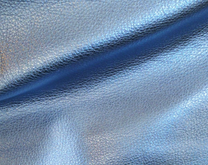 """SKY BLUE Pebbled Metallic 12""""x12"""" Soft cowhide shows the grain Leather 3-3.25oz/1.2-1.3mm PeggySueAlso™ E4100-19 Full hides available"""
