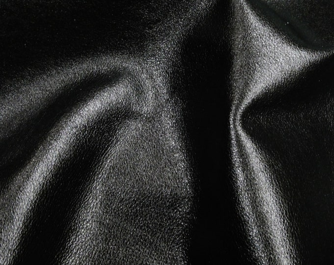 "BLACK Pebbled Metallic 8""x10"" SOFT cowhide - shows the grain - Leather 3-3.25 oz / 1.2-1.3 mm PeggySueAlso™ E4100-23 Hides Available"