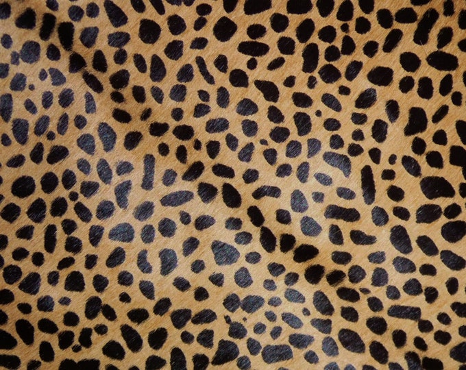 "RESTOCKED 8""x10"" Hair On Leather MINI Wild Cheetah Creamy Camel Brown with Black Spots Animal HOH Cowhide PeggySueAlso™ E2849-02"