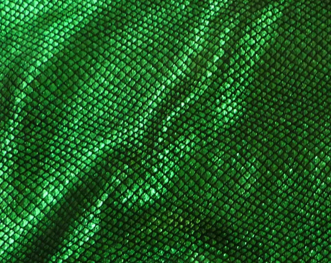 """Metallic Leather CLOSEOUT 5""""x11"""" Fish Scales EMERALD GREEN on Black Cowhide 3-3.5 oz / 1.2-1.4mm #359 PeggySueAlso™ E3400-07"""